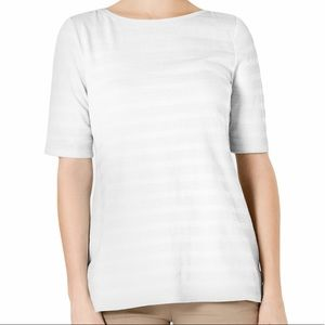 Charter Club Cotton Texture Striped Elbow Sleeve